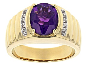 Purple African amethyst 18k yellow gold over sterling silver Mens ring 2.89ctw