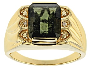 Green Moldavite 18k Yellow Gold Over Sterling Silver Mens Ring 4.31ctw