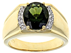 Green Moldavite 18k Yellow Gold Over Silver Men's Ring 3.48ctw