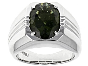 Green Moldavite Rhodium Over Sterling Silver Men's Ring 3.84ct