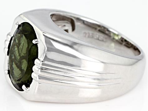 Green Moldavite Rhodium Over Sterling Silver Men's Ring 3 84ct