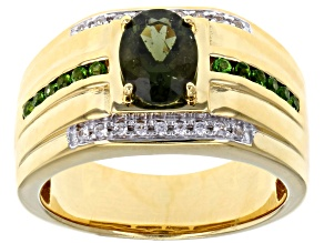 Green Moldavite 18k Yellow Gold Over Silver Men's Ring 1.12ctw