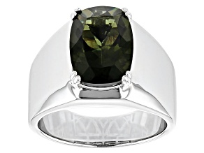 Green Moldavite Rhodium Over Sterling Silver Mens Solitaire Ring 4.35ct