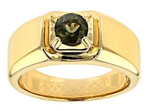 Green Moldavite 18k Yellow Gold Over Sterling Silver Men's Solitaire Ring .53ct