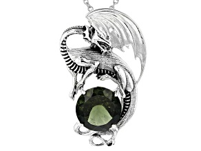 Green Moldavite Rhodium Over Sterling Silver Men's Dragon Pendant With Chain 4.12ctw