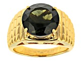 Green Moldavite 18k Yellow Gold Over Sterling Silver Men's Solitaire Ring 6.09ct