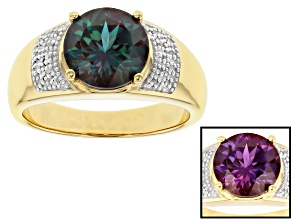 Blue Lab Created Alexandrite 18k Yellow Gold Over Sterling Silver Ring 3.45ctw