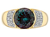 Blue Lab Created Alexandrite 18k Yellow Gold Over Silver Mens Ring 3.45ctw