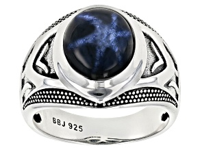 Blue Star Sapphire rhodium over silver mens ring 7.71ct
