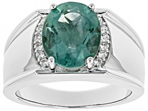 Teal Fluorite Rhodium Over Sterling Silver Mens Ring 4.92ctw