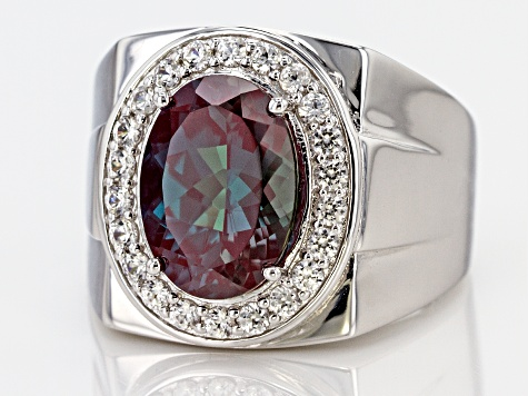 Blue lab alexandrite rhodium over silver gent's ring 7.24ctw