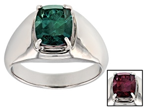 Color Change Lab Created Alexandrite Rhodium Over Sterling Silver Men's Ring 2.77ct