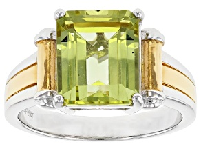 Yellow Apatite Rhodium Over Silver Men's White And Gold Tone Ring  5.86ct