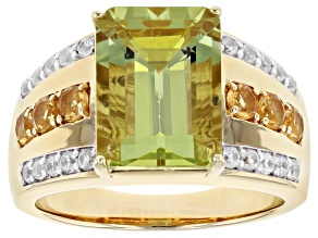 Yellow Apatite 18k  Gold Over Silver Men's Ring 8.16ctw