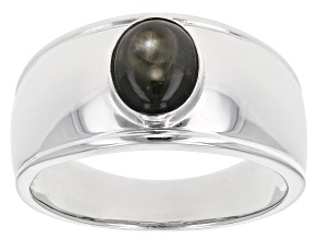 Black Star Sapphire Rhodium Over Silver Mens Ring 1.61ct