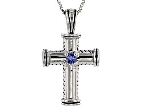 Blue Tanzanite Rhodium Over Sterling Silver Cross Pendant with Chain .09ct