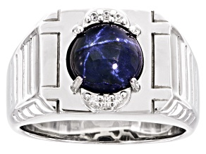 Blue star sapphire rhodium over silver gent's ring 4.29ctw
