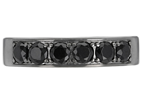 Black Spinel Black Rhodium Over Silver Band Ring 1.63ctw