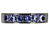 Blue Tanzanite Black Rhodium Over Silver Band Ring 1.53ctw