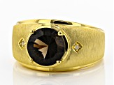 Brown smoky quartz 18k gold over silver men's ring 3.11ctw