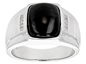 Black Spinel Rhodium Over Sterling Silver Mens Ring  .03ctw