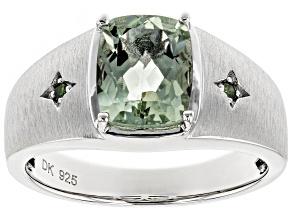 Green prasiolite rhodium over silver gent's ring 2.49ctw