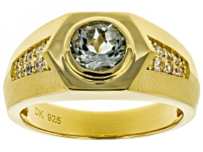 Green prasiolite 18k gold over silver Mens ring