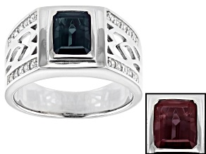 Blue Lab Created Alexandrite Rhodium Over Silver Mens Ring 2.12ctw