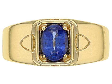 Blue kyanite 18k yellow gold over sterling silver gents ring 1.27ct