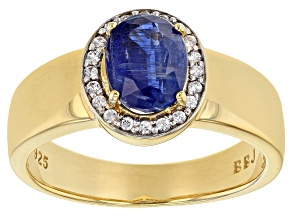 Blue kyanite 18k yellow gold over silver Mens ring 2.15ctw