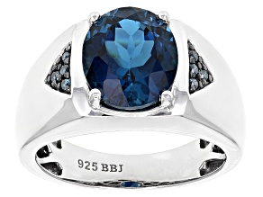 London Blue Topaz Sterling Silver Gents Ring 5.26ctw