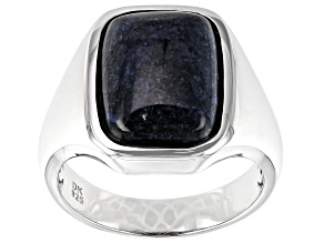 Blue Dumortierite Rhodium Over Silver Mens Ring