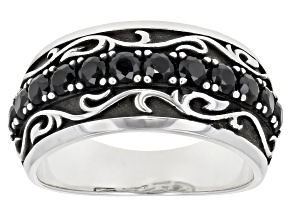 Black Spinel Rhodium Over Silver Ring 1.22ctw