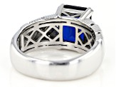 Blue Lab Created Spinel Rhodium Over Silver Men's Ring 5.00ctw