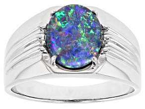 Multi-color Australian Opal Triplet Rhodium Over Silver Mens Ring
