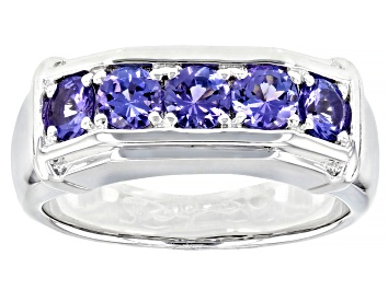 Picture of Blue Tanzanite Rhodium Over Sterling Silver Mens Ring 1.27ctw