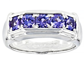 Blue Tanzanite Rhodium Over Sterling Silver Mens Ring 1.27ctw