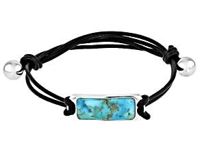 Blue Turquoise Leather & Sterling Silver Men's Adjustable Bracelet