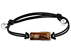 Brown Tigers Eye Leather & Sterling Silver Men's Adjustable Bracelet