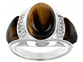 Brown Tiger's Eye Rhodium Over Sterling Silver Mens Ring .19ctw