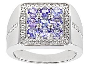 Blue Tanzanite Rhodium Over Silver Gent's Ring 1.53ctw