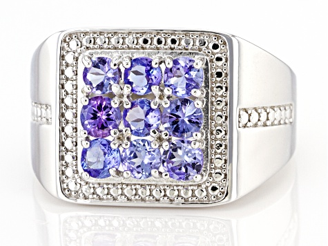 Blue Tanzanite Rhodium Over Silver Gent's Ring 1.53ctw