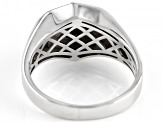 Black Spinel Rhodium Over Silver Mens Ring 1.72ct