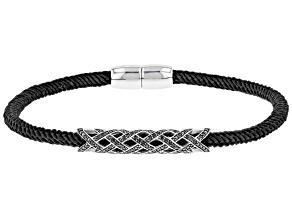 Black Spinel Rhodium Over Silver Black Cord Bracelet .81ctw