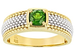 Green chrome diopside 18k yellow gold and rhodium over silver mens ring .47ct