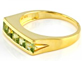 Green peridot 18k yellow gold over silver mens ring 1.45ctw