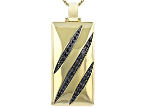 Black Spinel 18k Gold Over Silver Pendant With Chain 1.56ctw