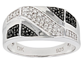 White Zircon Rhodium Over Silver Gent's Ring 0.48ctw