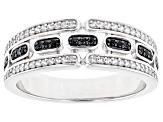 Black Spinel Rhodium Over Silver Men's Band Ring .55ctw