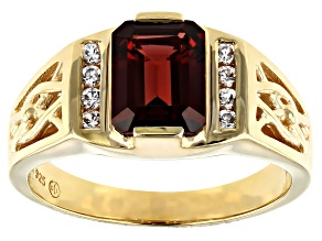 Red Garnet 18k Gold Over Sterling Silver Mens Ring 2.95ctw